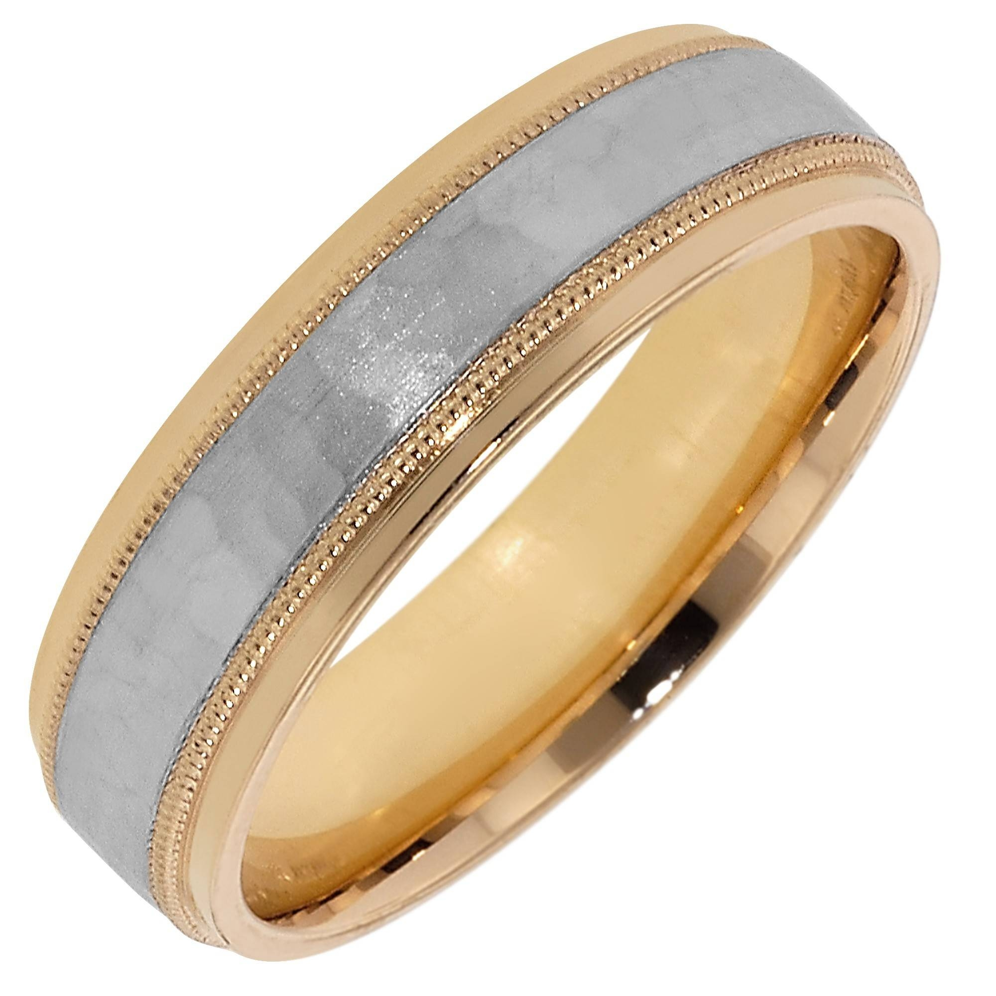 Artcarved Mens Hammered Wedding Band In 14Kt Yellow Gold And White In White And Yellow Gold Wedding Bands (View 4 of 15)