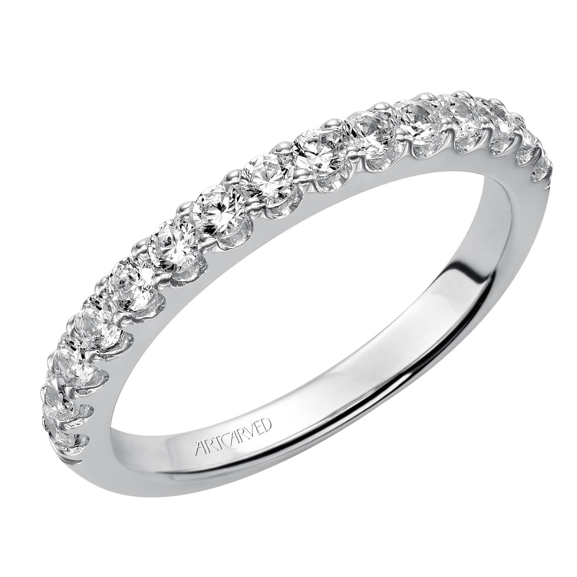 Artcarved Yolanda Diamond Wedding Band In 14Kt White Gold (1/2Ct Tw) Pertaining To Carved Wedding Bands (View 6 of 15)