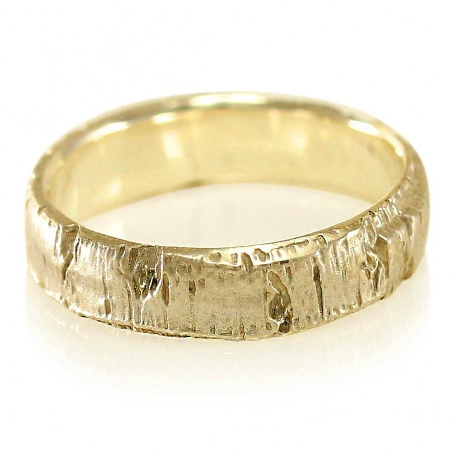 Aspen Bark Yellow Gold Mens Wedding Band In 10K Gold, 14K Gold Regarding Current 14K Yellow Gold Mens Wedding Bands (View 10 of 15)
