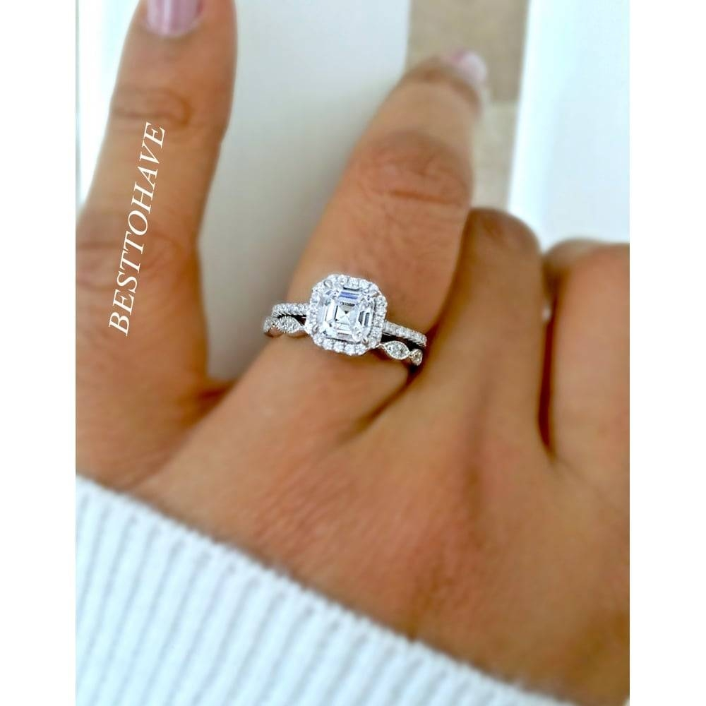 Asscher Cut Cubic Zirconia Ring Bridal Set With Regard To Best And Newest Asscher Cut Wedding Bands (View 1 of 15)