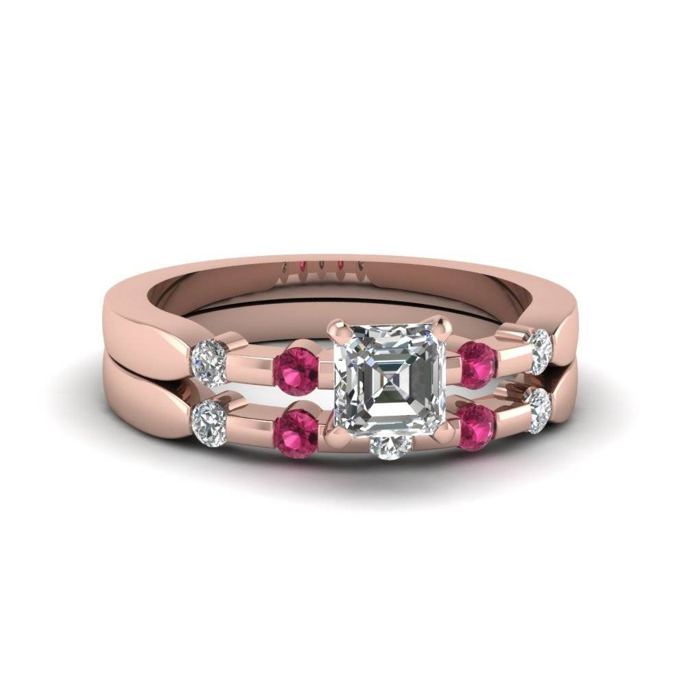 Asscher Cut Delicate Diamond Wedding Ring Set With Pink Sapphire Inside Recent Bezel Set Engagement Rings With Wedding Bands (View 1 of 15)