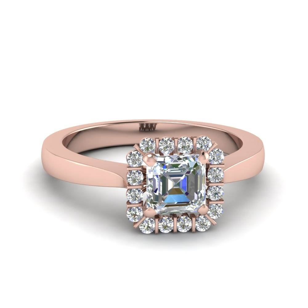 Asscher Cut Floating Halo Diamond Ring In 14k Rose Gold Regarding Floating Diamond Engagement Rings (View 10 of 15)
