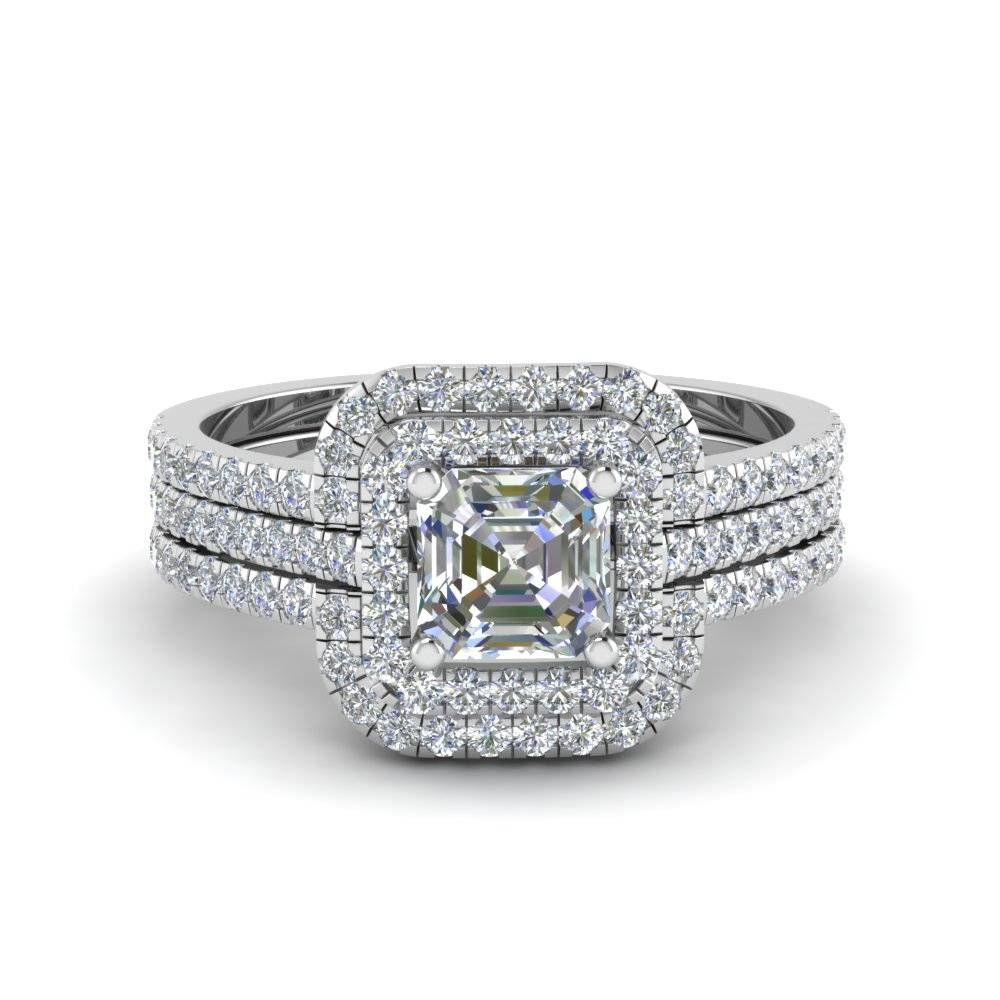 Asscher Cut Square Halo Diamond Engagement Ring Guard In 14K White Within Best And Newest Asscher Cut Wedding Bands (View 5 of 15)