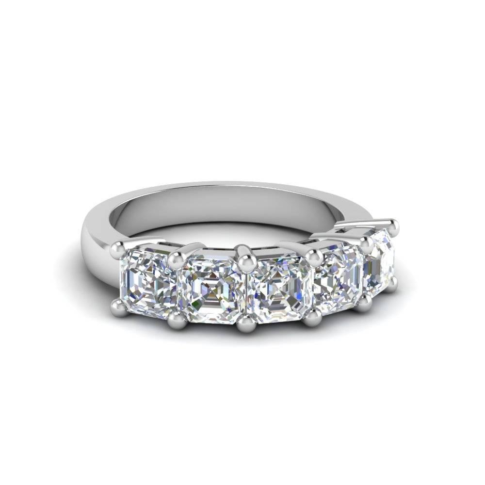 Asscher Cut Wedding Band With White Diamond In 14K White Gold Regarding Most Current Asscher Cut Wedding Bands (View 2 of 15)
