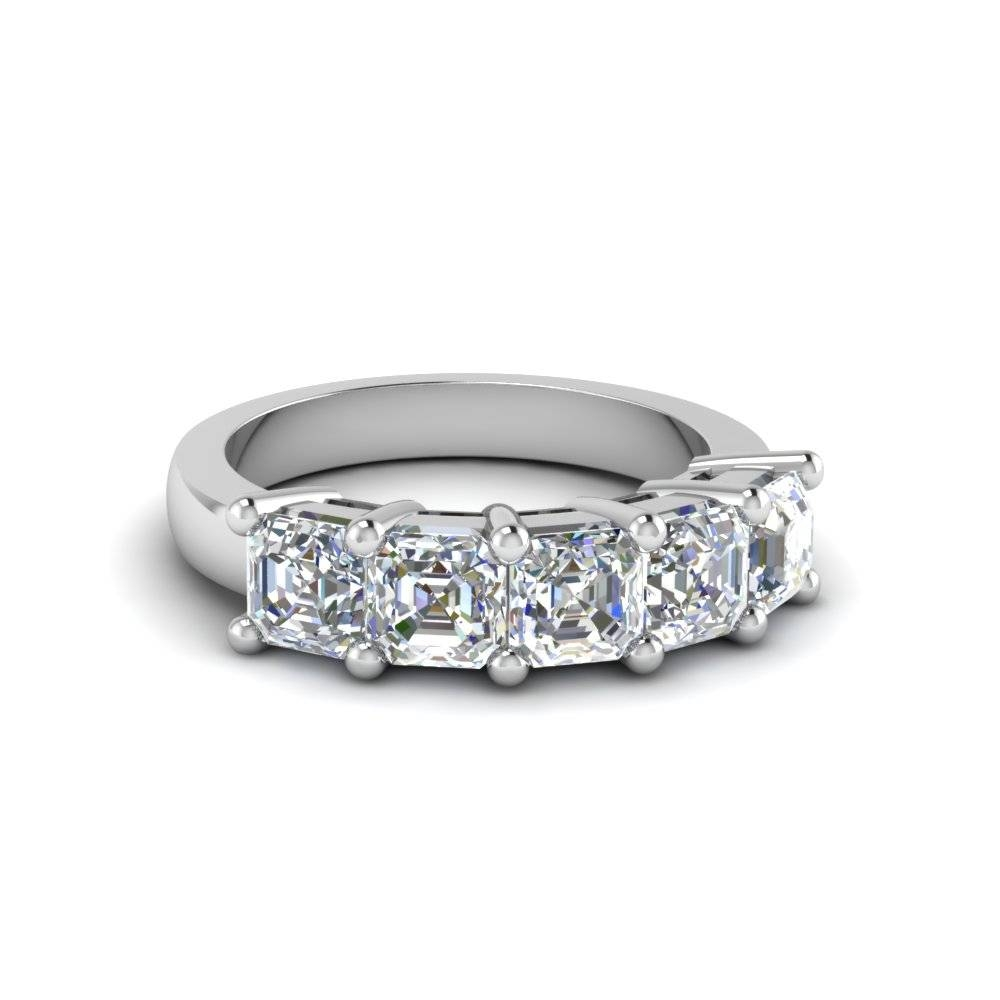 Asscher Cut Wedding Band With White Diamond In 14K White Gold Within Newest Five Diamond Wedding Bands (View 1 of 15)