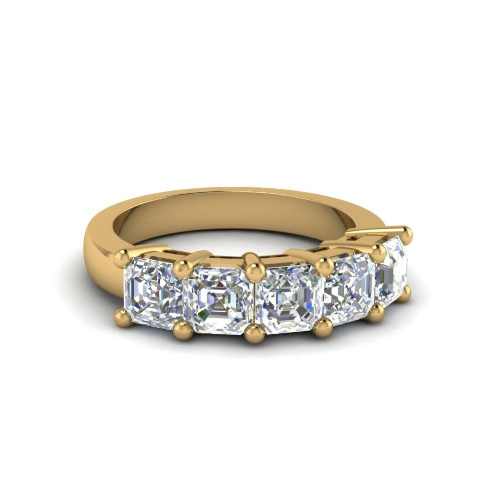 Asscher Cut Wedding Band With White Diamond In 18K Yellow Gold Pertaining To Five Diamond Engagement Ring (View 3 of 15)