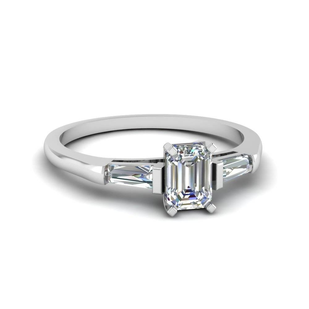 Baguette And Emerald Cut Diamond 3 Stone Engagement Ring In 14K Throughout Emerald Cut Engagement Rings Under (View 12 of 15)