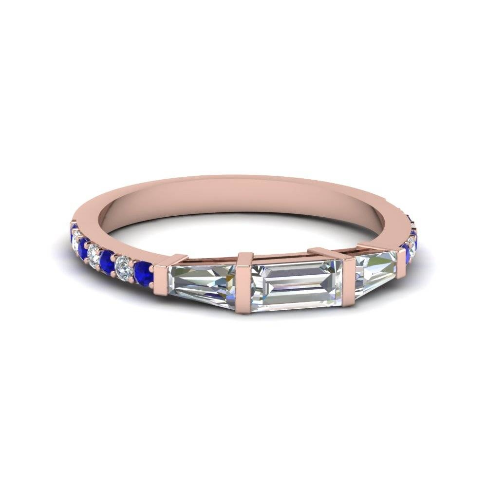 Baguette And Round Diamond Thin Wedding Women Band With Blue Throughout Thin Wedding Bands For Women (View 4 of 15)