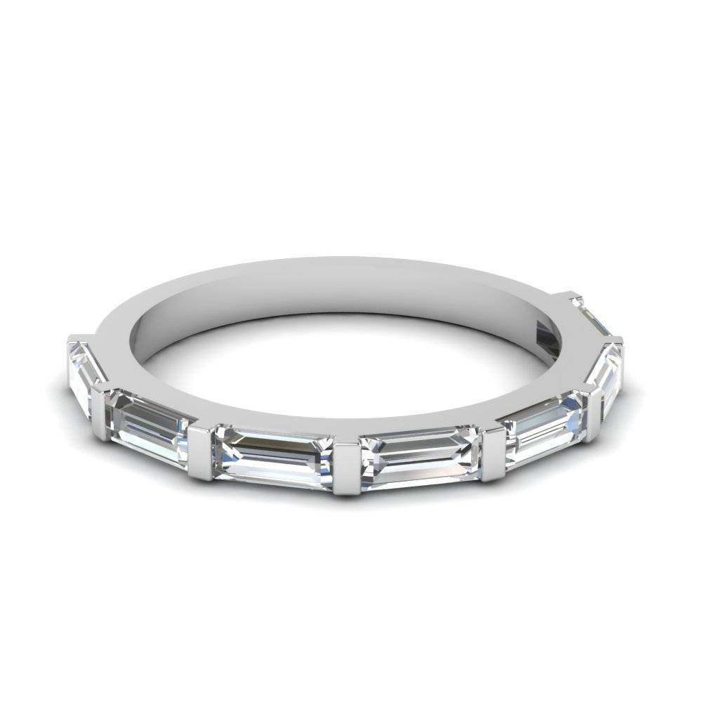 Baguette Brilliance Wedding Band With White Diamond In 18K White Throughout Womens Platinum Wedding Bands (View 4 of 15)