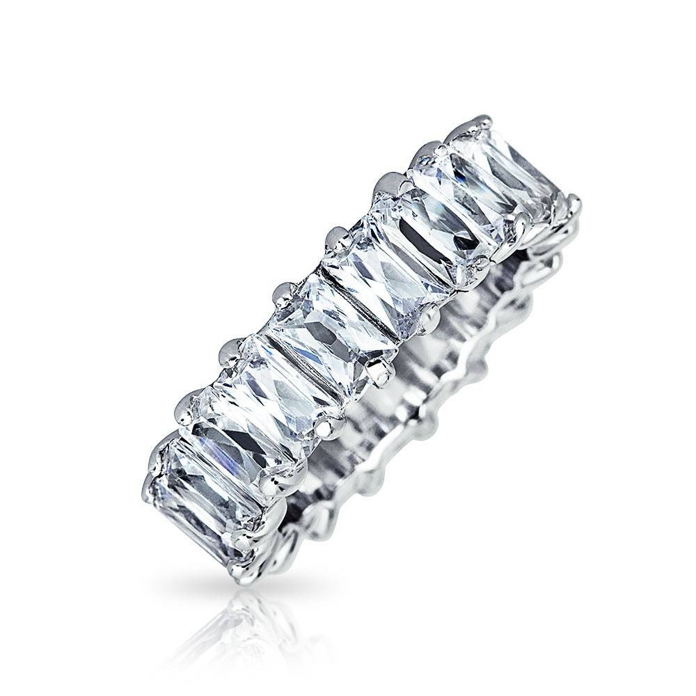 Baguette Cut Eternity Wedding Band Ring Sterling Silver Regarding Most Up To Date Eternity Wedding Bands (View 6 of 15)