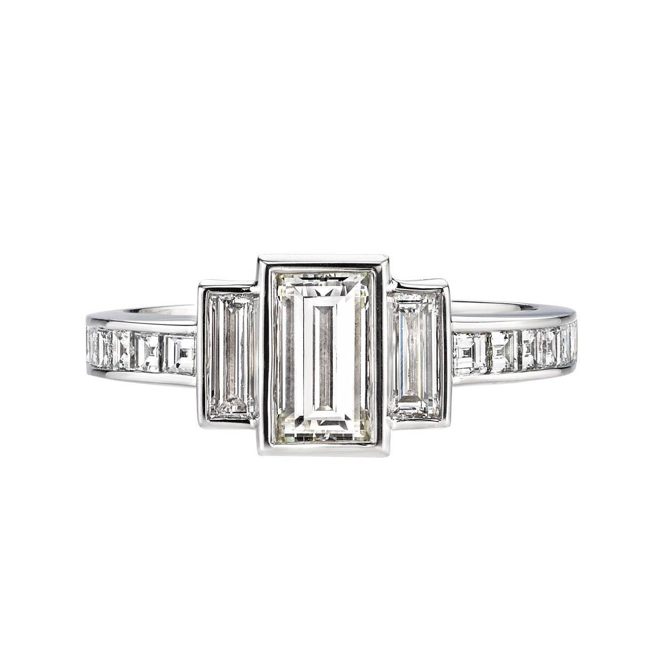 Baguette Emerald Cut Diamond Platinum Engagement Ring For Sale At For Baguette Cut Diamond Engagement Rings (View 7 of 15)