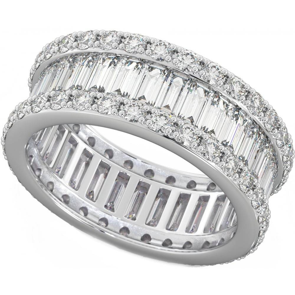 Baguette Full Eternity Ring In Baguette Cut Diamond Wedding Bands (View 6 of 15)