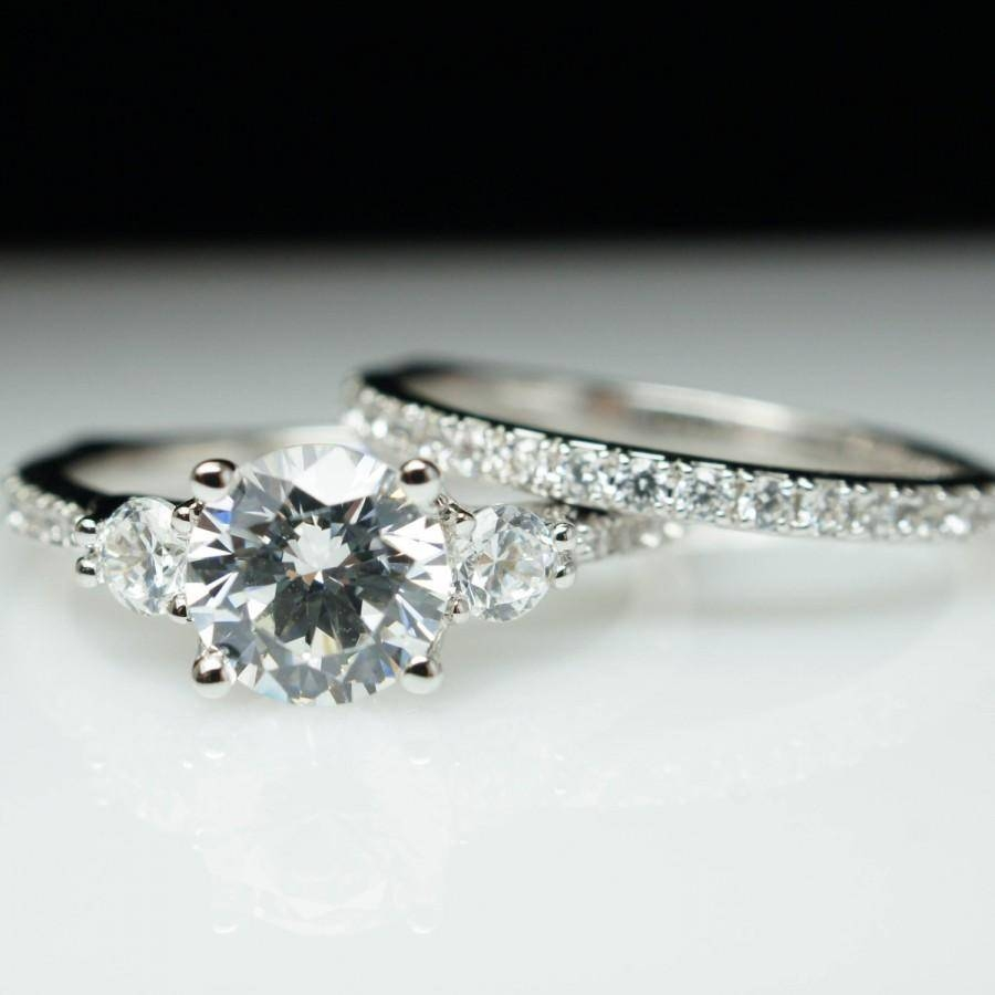 Beautiful 3 Stone Solitaire Diamond Engagement Ring & Wedding Band With Regard To Wedding Bands To Go With Princess Cut Engagement Rings (Gallery 7 of 15)