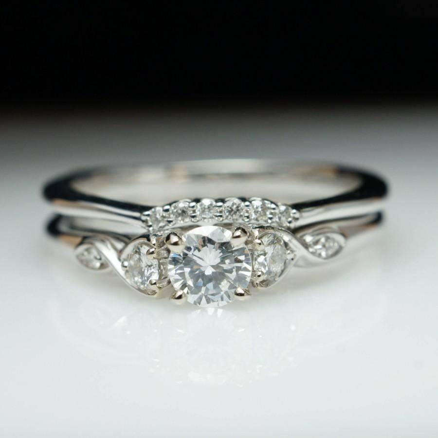 Beautiful Diamond Engagement Ring & Wedding Band Set 14K White Regarding Engagement Rings Wedding Bands Sets (View 5 of 15)