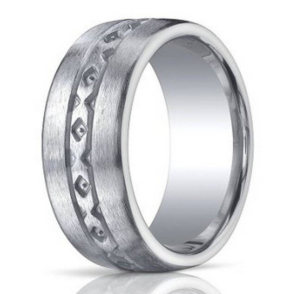 Benchmark Men's Wedding Band In Argentium Silver, X Design, 10Mm Regarding Male Silver Wedding Bands (View 1 of 15)