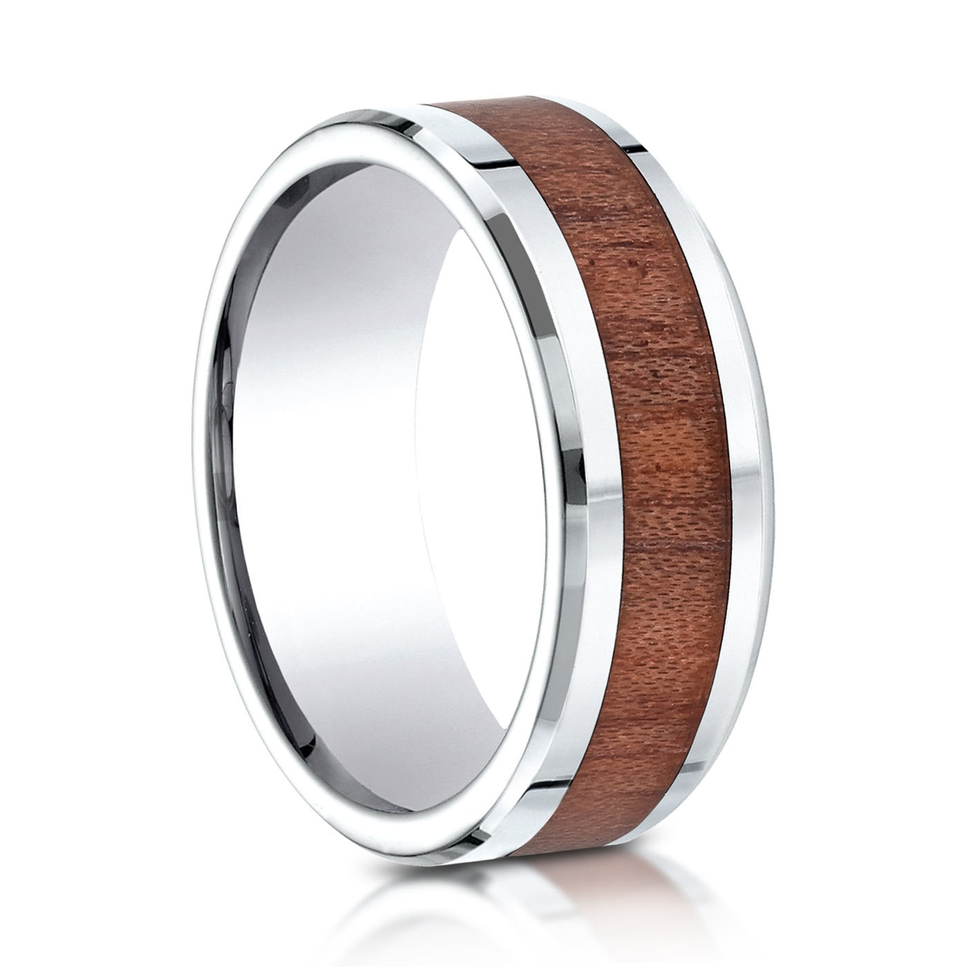 Benchmark Rose Wood And Cobalt Wedding Band On Sale With Regard To Wood Inlay Wedding Bands (View 4 of 15)