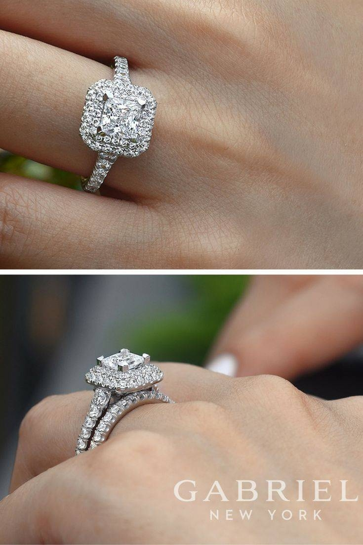 Best 25+ Princess Cut Halo Ideas On Pinterest | Princess Cut With Wedding Band To Go With Princess Cut Engagement Ring (View 2 of 15)