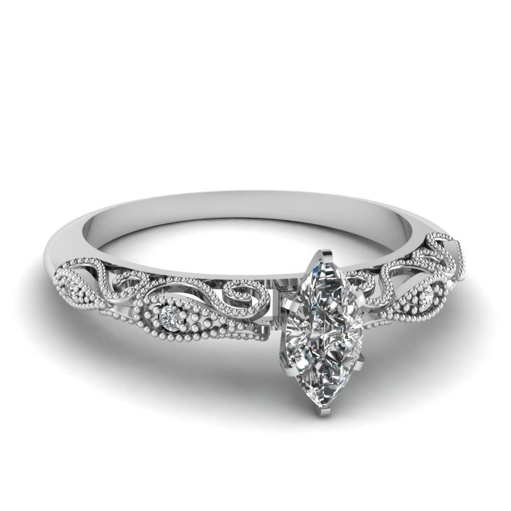 Best And Affordable Marquise Cut Engagement Rings |Fascinating Throughout White Gold Marquise Diamond Engagement Rings (View 2 of 15)