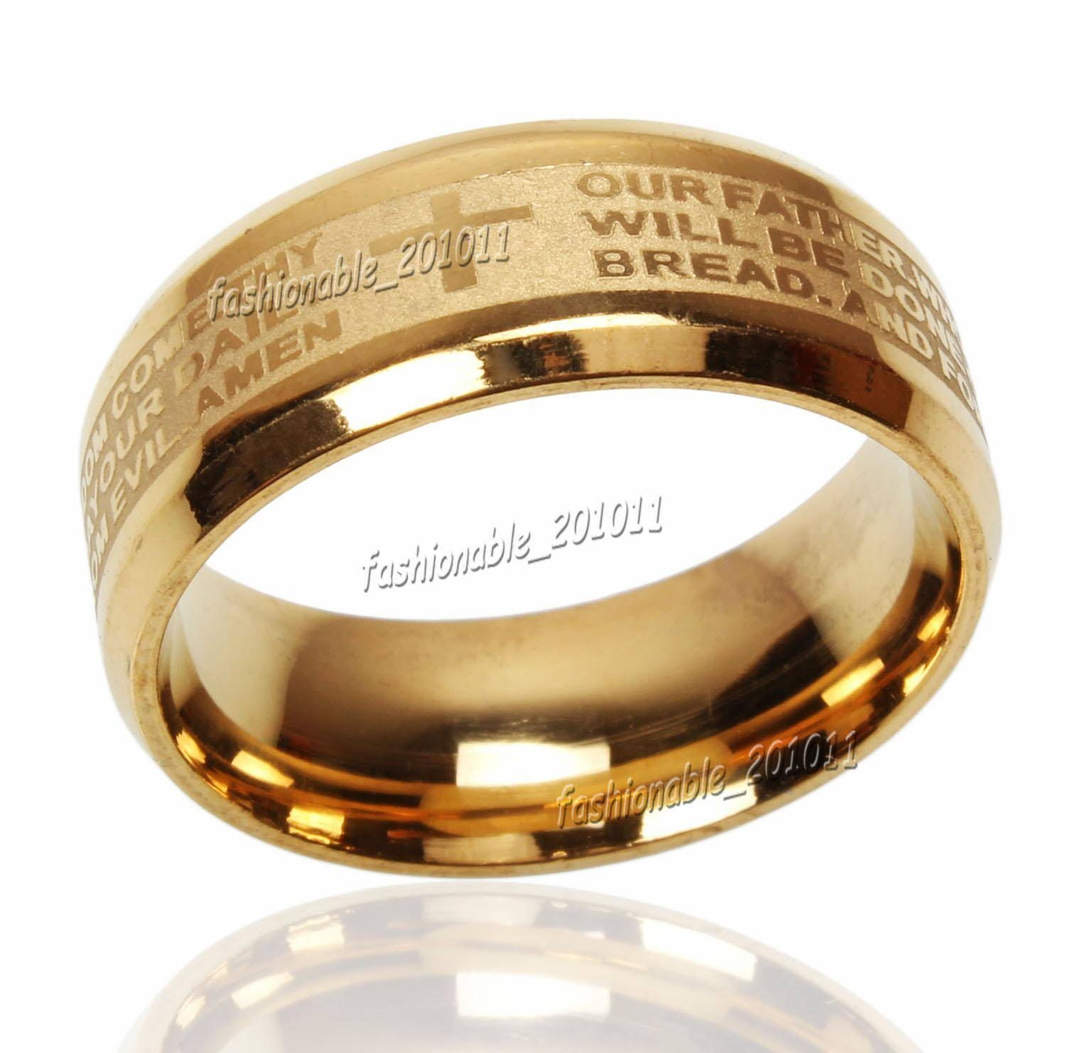 Best Stainless Steel Etched English Lord's Prayer Cross Wedding In Cross Wedding Bands (View 12 of 15)