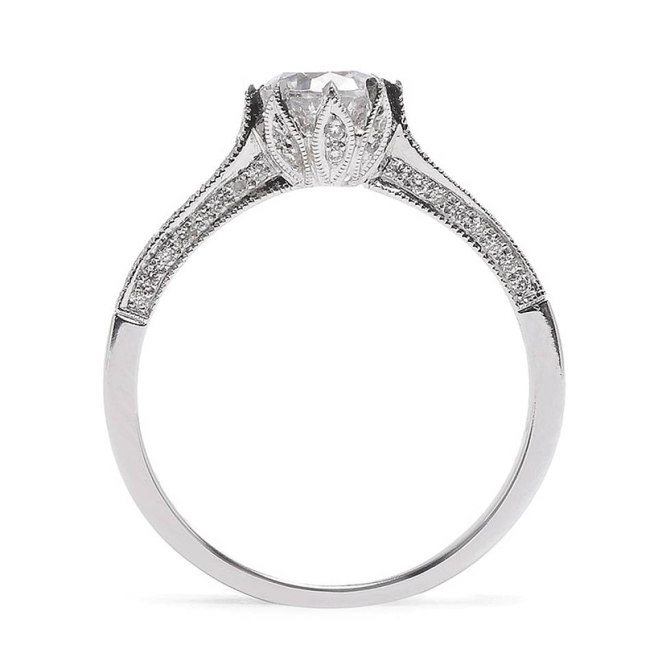 Beverley K Six Prong Pave Diamond Ring Setting – Greenwich St Within Pave Engagement Ring Settings (View 2 of 15)