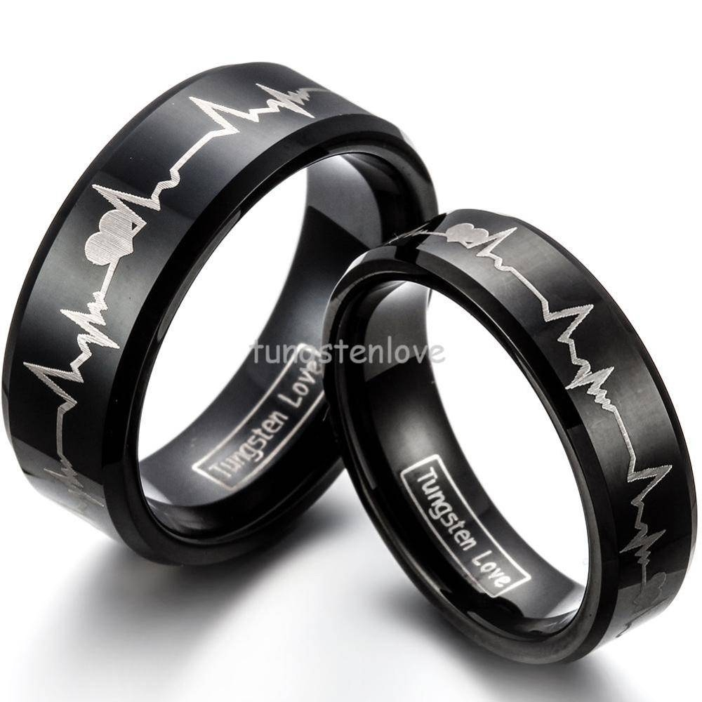 Black And Red Diamond Rings For Women New Black Tungsten Carbide With Tungsten Carbide Womens Wedding Rings (View 3 of 15)