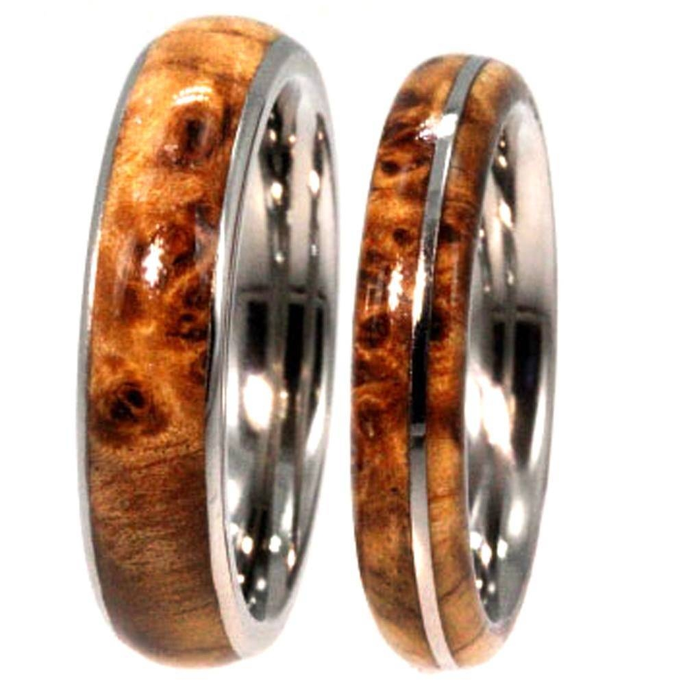 Black Ash Burl Wood Wedding Rings On Titanium Bands For Wood Wedding Bands (View 3 of 15)