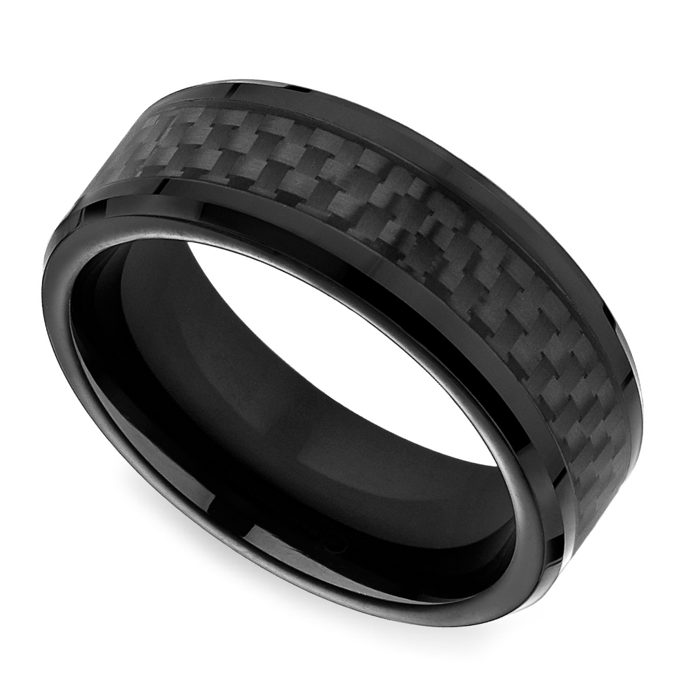Black Carbon Fiber Men's Wedding Ring In Cobalt Intended For Carbon Wedding Bands (View 5 of 15)