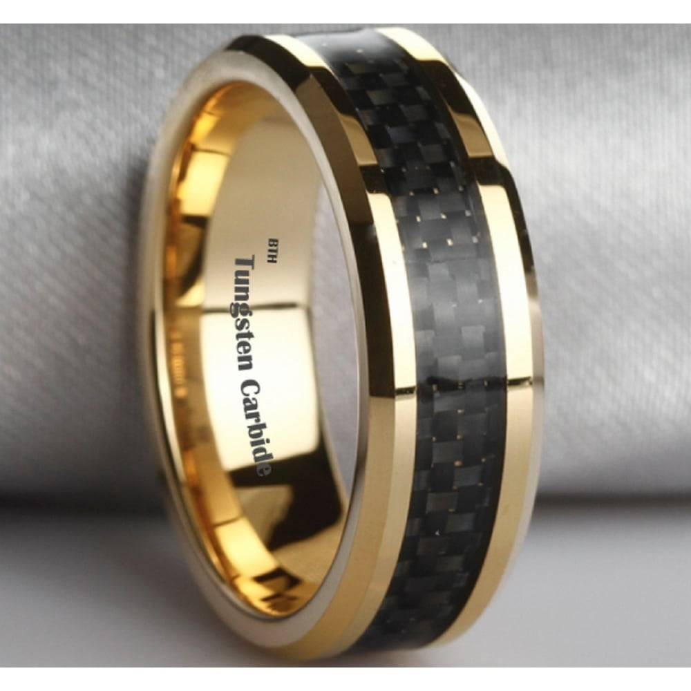 Black Carbon Inlay Gold Tone Tungsten Wedding Engagement Band Ring Within Carbon Wedding Bands (View 6 of 15)