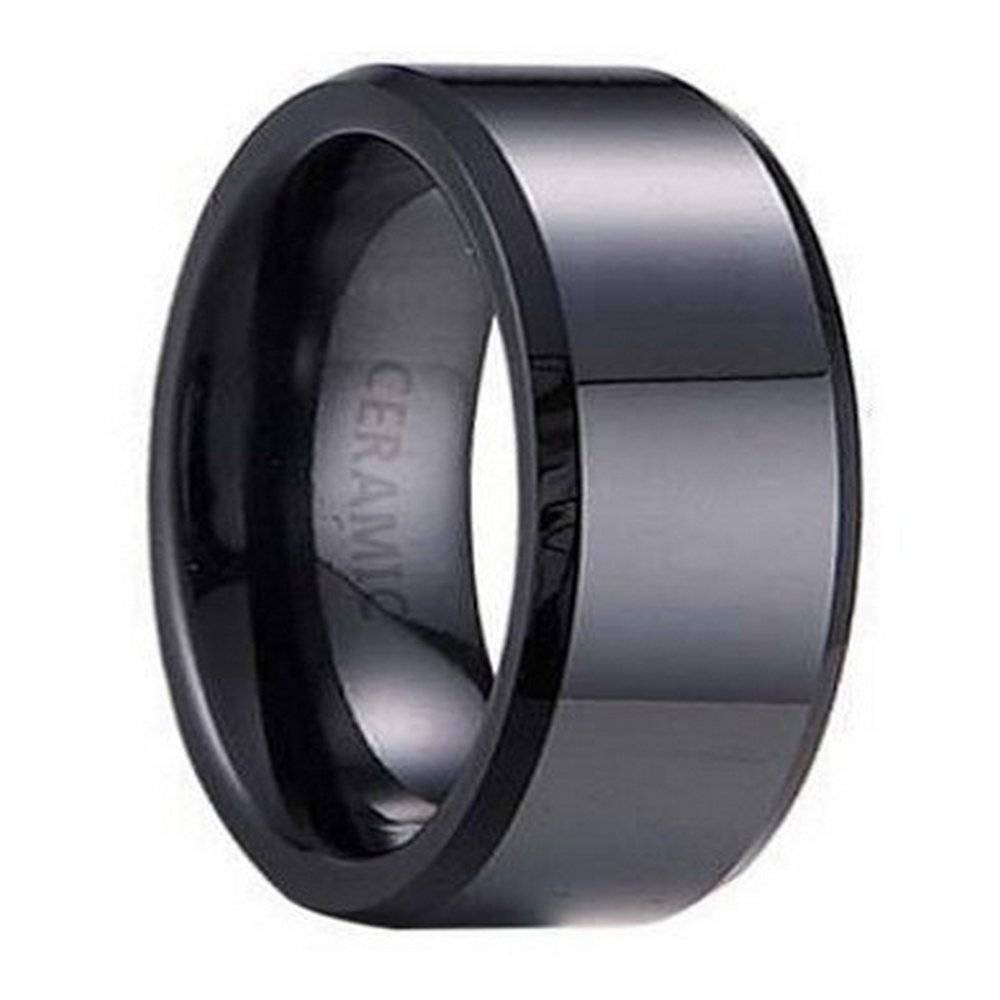 Black Ceramic Men's Wedding Ring, Polished Beveled Edges | 7mm In Black Wedding Bands For Men (View 12 of 15)