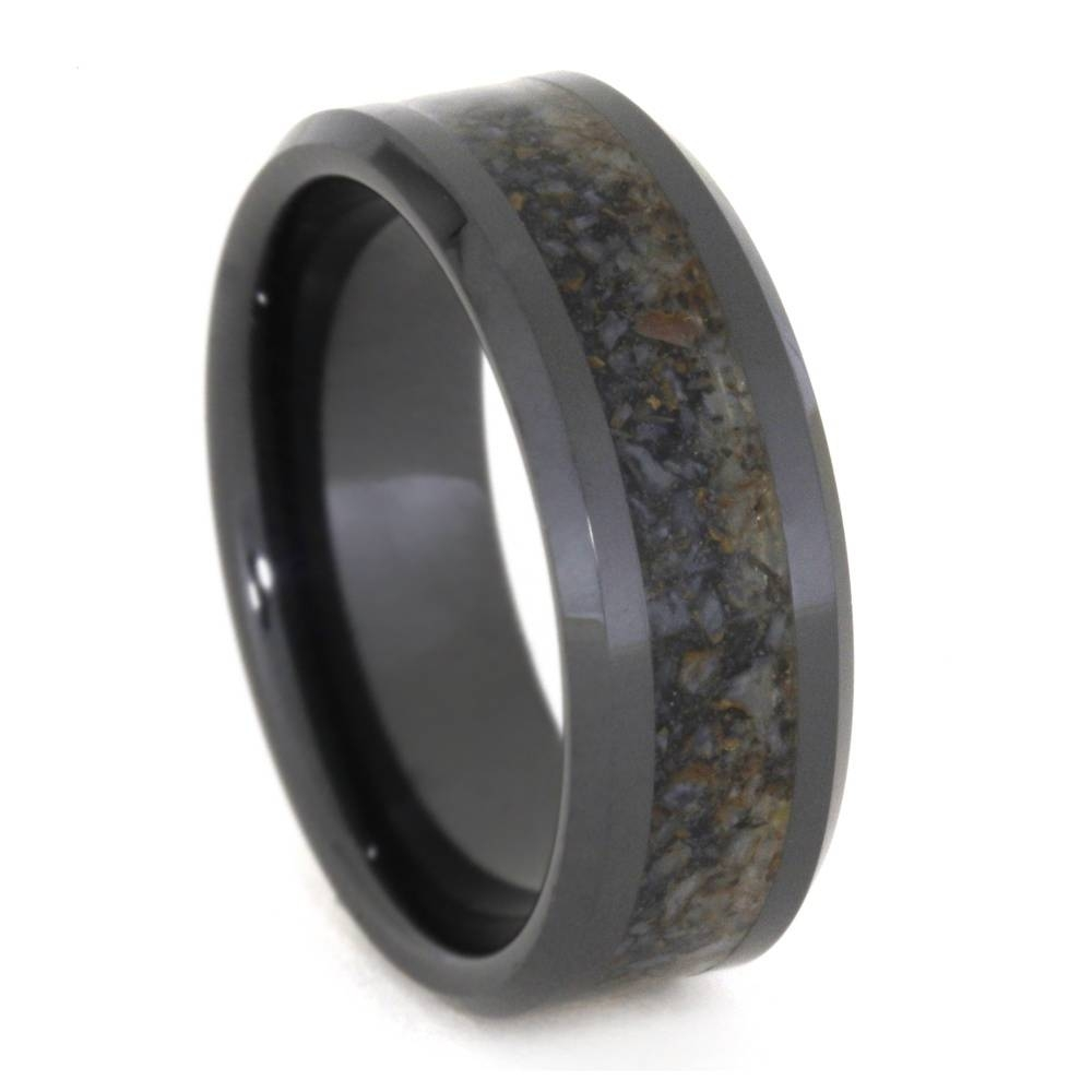 Black Ceramic Wedding Band, Crushed Dinosaur Bone Ring 3331 Within Black Mens Wedding Bands (View 3 of 15)