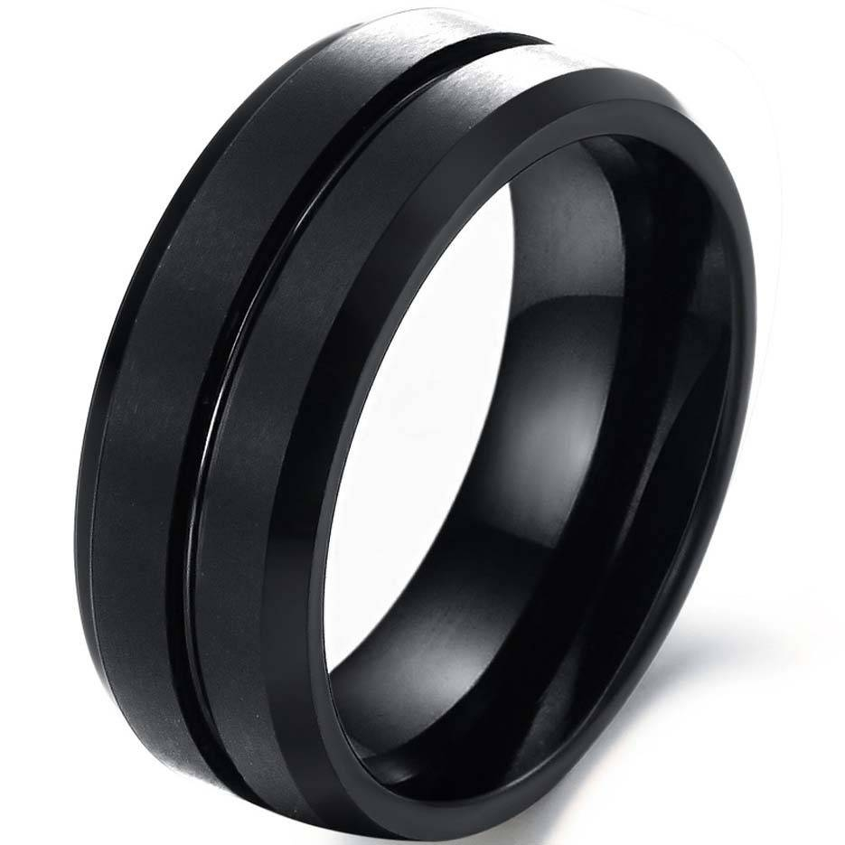 Black Metal Wedding Rings Womens Tags : Black And Silver Mens With Regard To Black Steel Wedding Bands (Gallery 8 of 15)