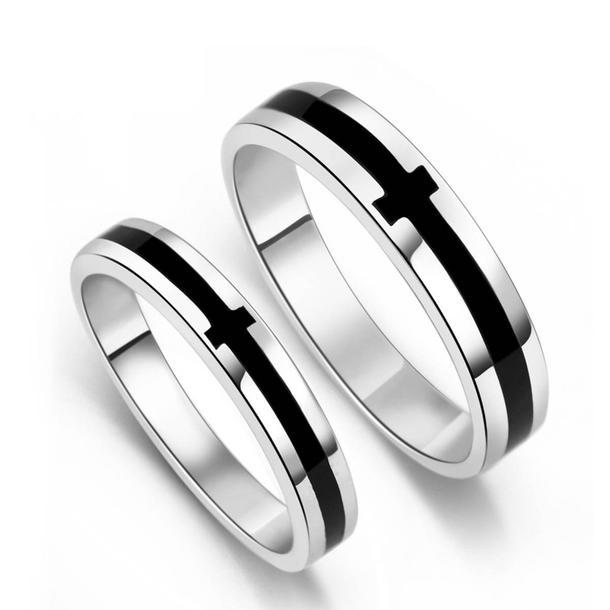 Black Onyx S925 Sterling Silver Mens Ladies Couple Promise Ring Within Silver Mens Wedding Rings (View 14 of 15)
