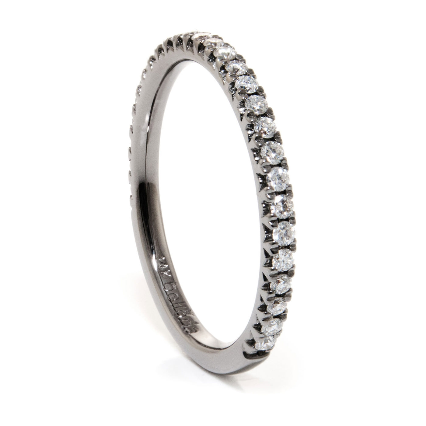 Black Rhodium Gold & Diamond Wedding Ring – Belloria – Eternity Bands Intended For Most Recently Released Rhodium Wedding Bands (View 3 of 15)