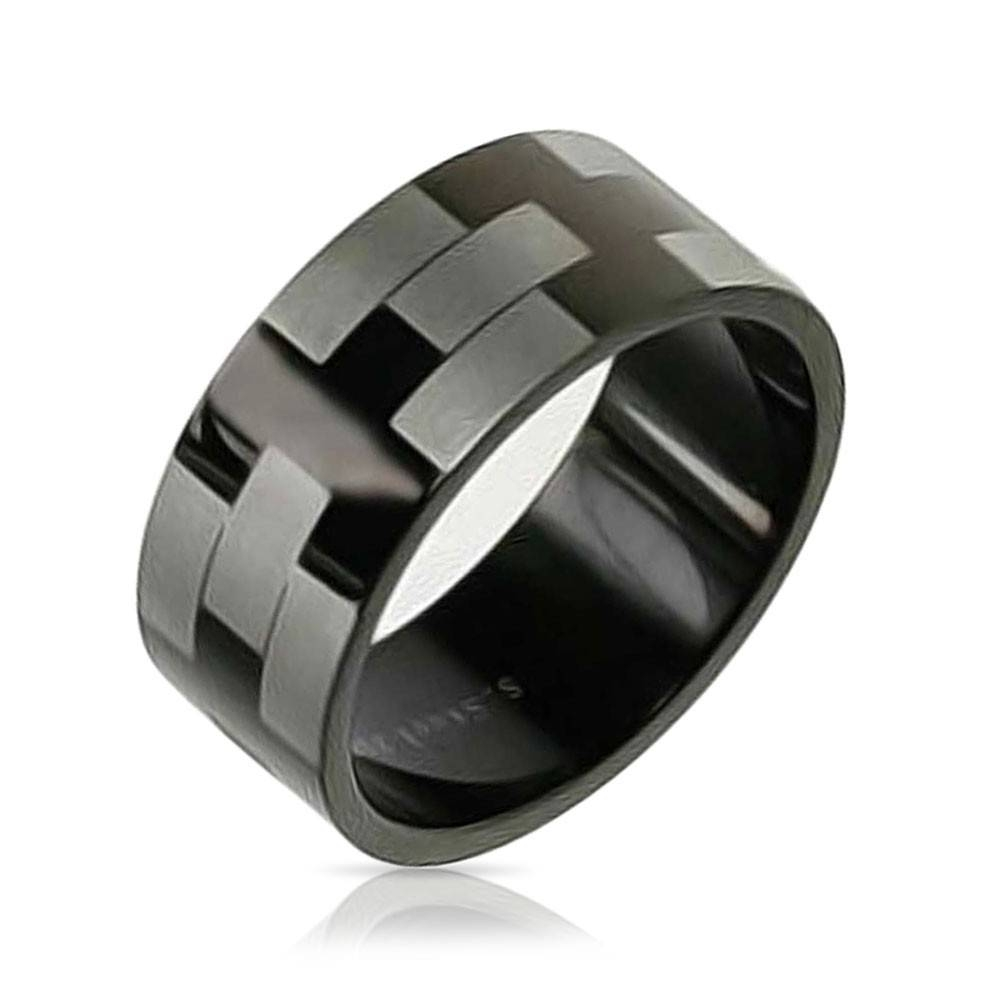 Black Stainless Steel Etched Mens Wedding Band Ring In Black Steel Wedding Bands (View 3 of 15)