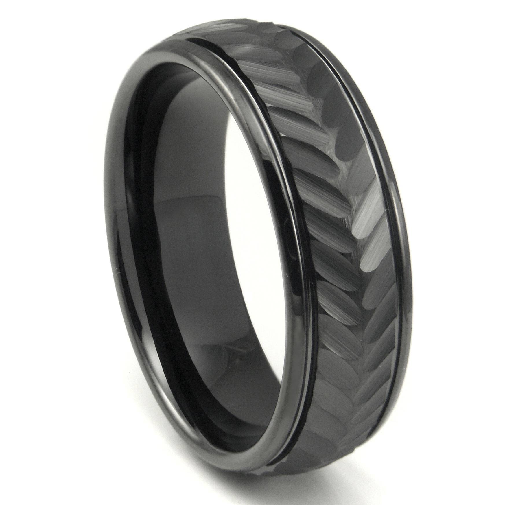 Black Tungsten Carbide 8Mm Chevron Newport Wedding Band Ring Intended For Black Tungsten Wedding Bands (View 2 of 15)