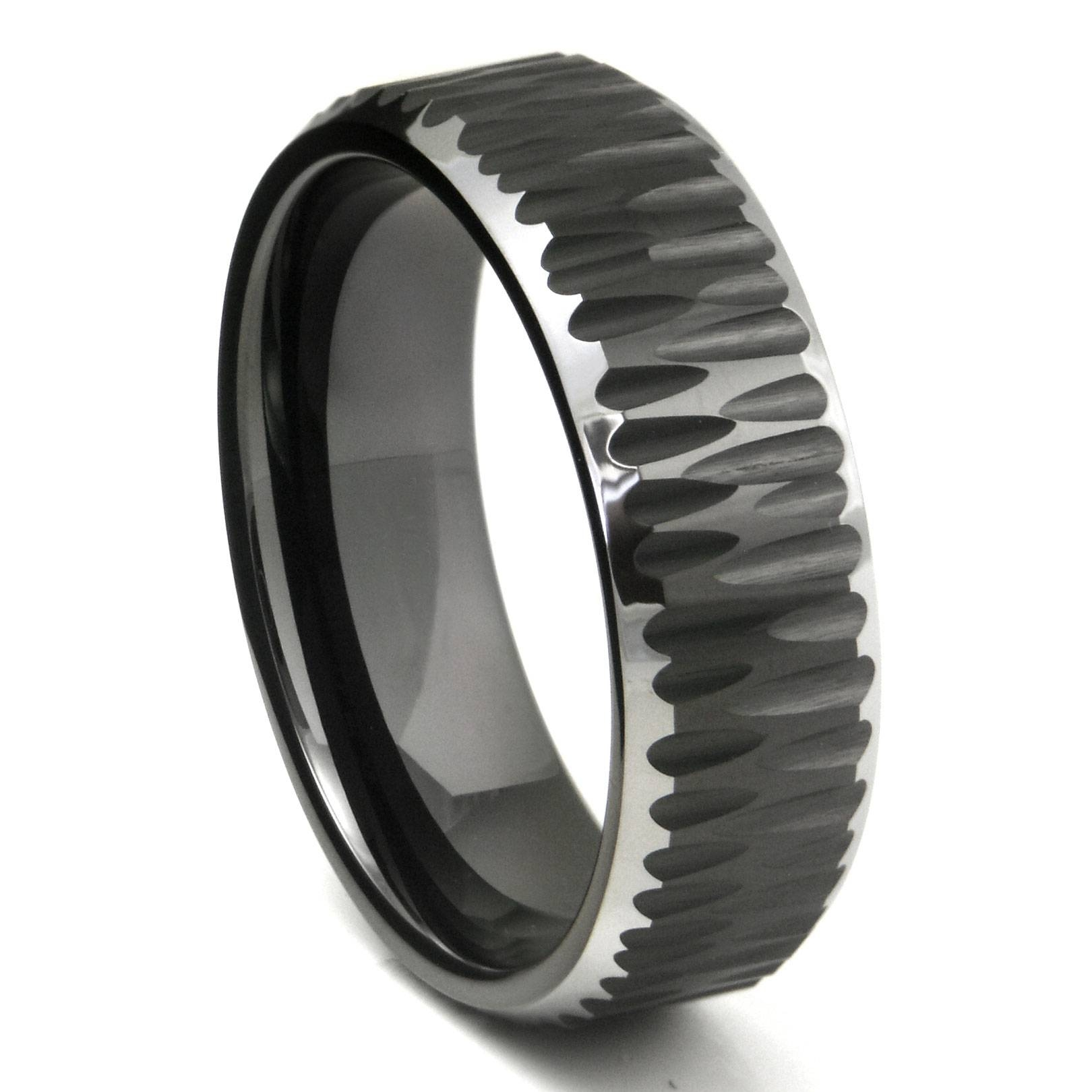 Black Tungsten Carbide Hammer Finish Beveled Wedding Band Ring Intended For Black Titanium Mens Wedding Rings (View 8 of 15)