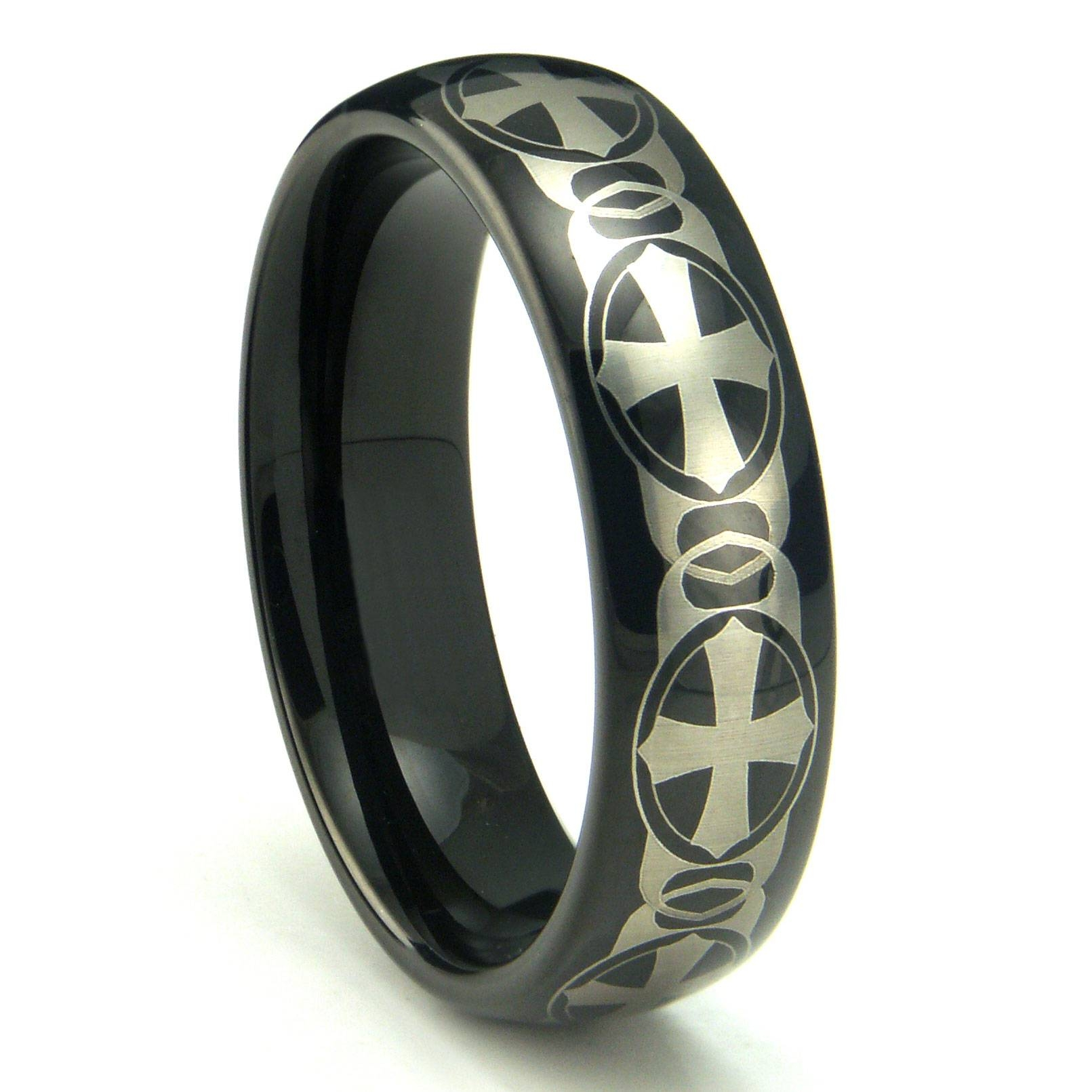 Black Tungsten Carbide Laser Engraved Celtic Cross Dome Wedding Within Mens Wedding Bands With Cross (View 2 of 15)