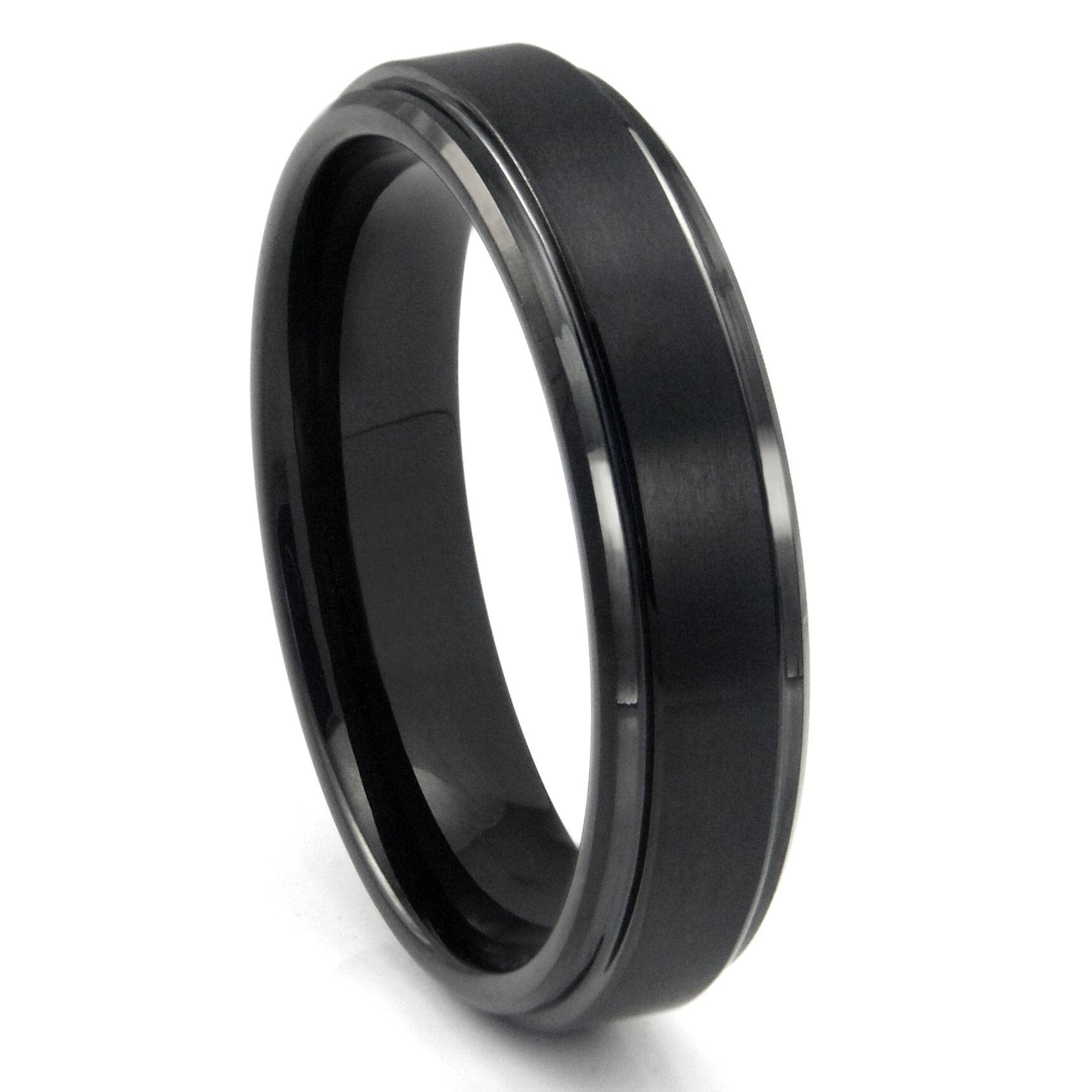 Black Tungsten Carbide Wedding Band Ring W/ Raised Center Within Black Metal Wedding Bands (View 8 of 15)