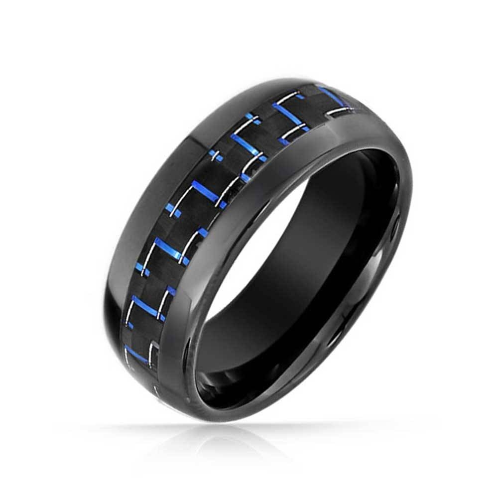 Black Tungsten Ring Blue Carbon Inlay Wedding Ring For Carbon Wedding Bands (View 7 of 15)