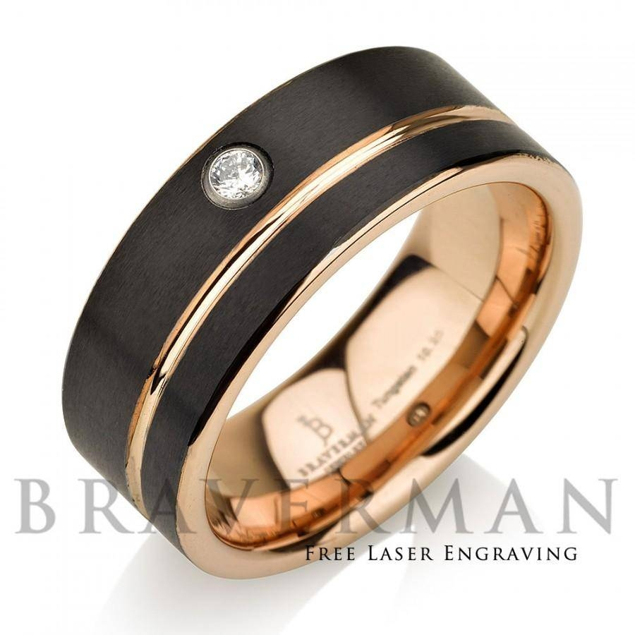Black Tungsten Wedding Band,14K Rose Gold, White Diamond Mens Throughout Black And Gold Wedding Bands For Men (View 5 of 15)