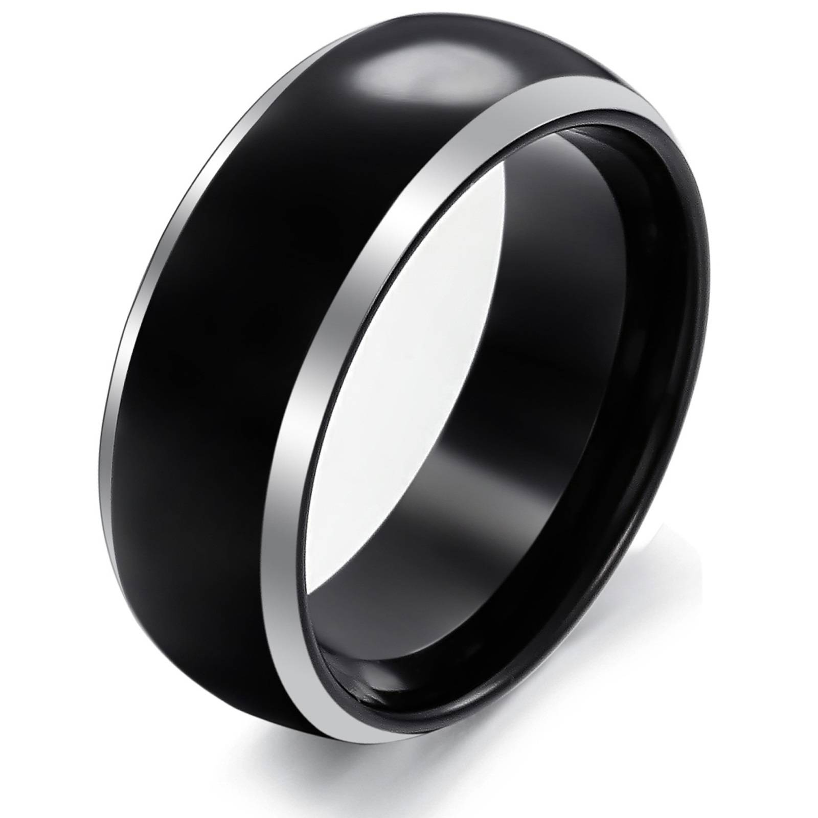 Black Tungsten Wedding Bands For Men : Unique Designs For Mens Intended For Black Steel Wedding Bands (View 4 of 15)