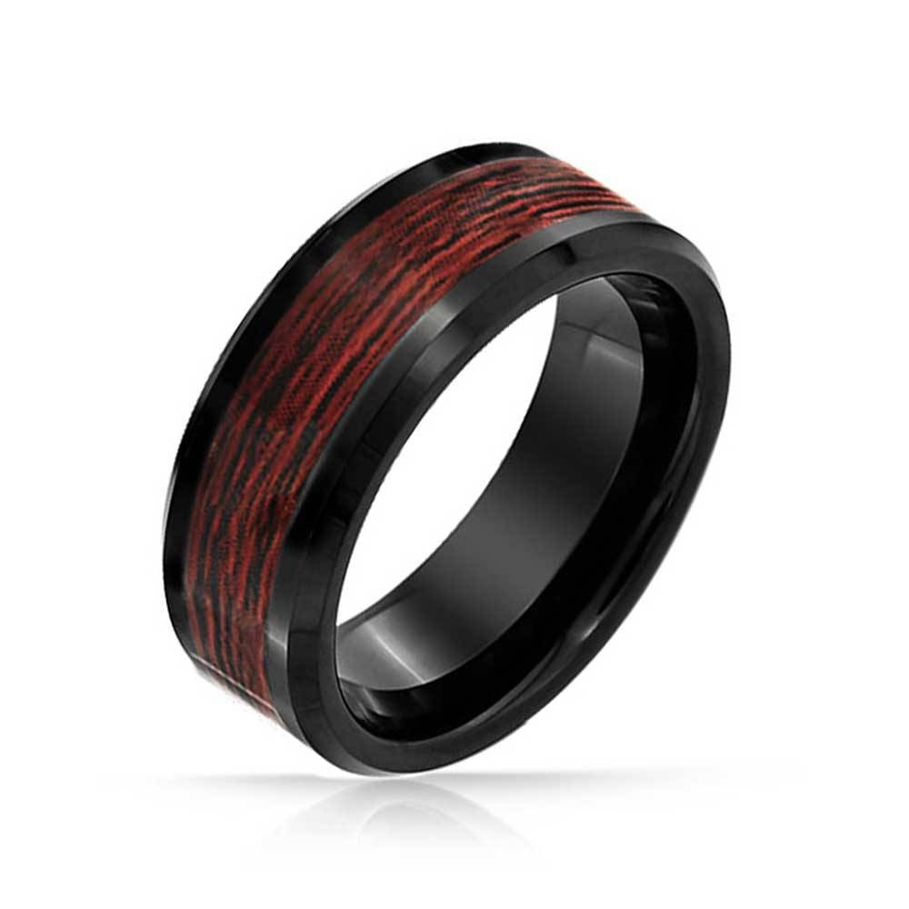 Black Tungsten Wood Inlay Mens Ring For Dark Metal Mens Wedding Bands (View 8 of 15)