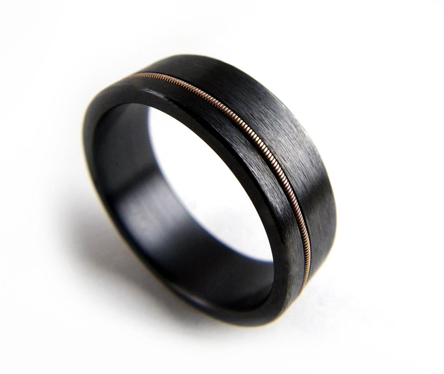 Black Zirconium Ring Guitar String Ring Black Metal Ring For Dark Metal Wedding Bands (View 7 of 15)