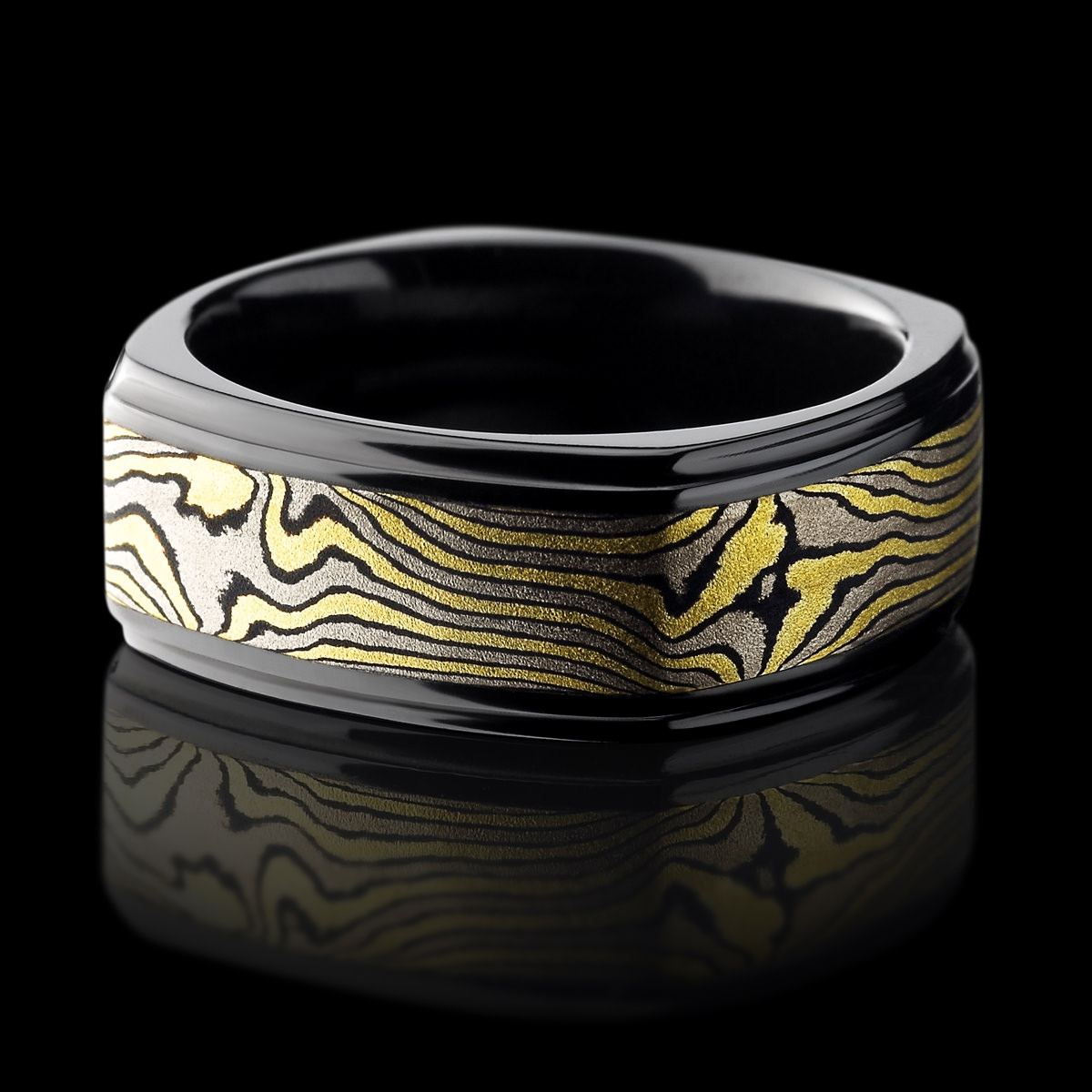 Black Zirconium Ring With Mokume Gane – Lashbrook Designs In Black Zirconium Wedding Bands (View 3 of 15)