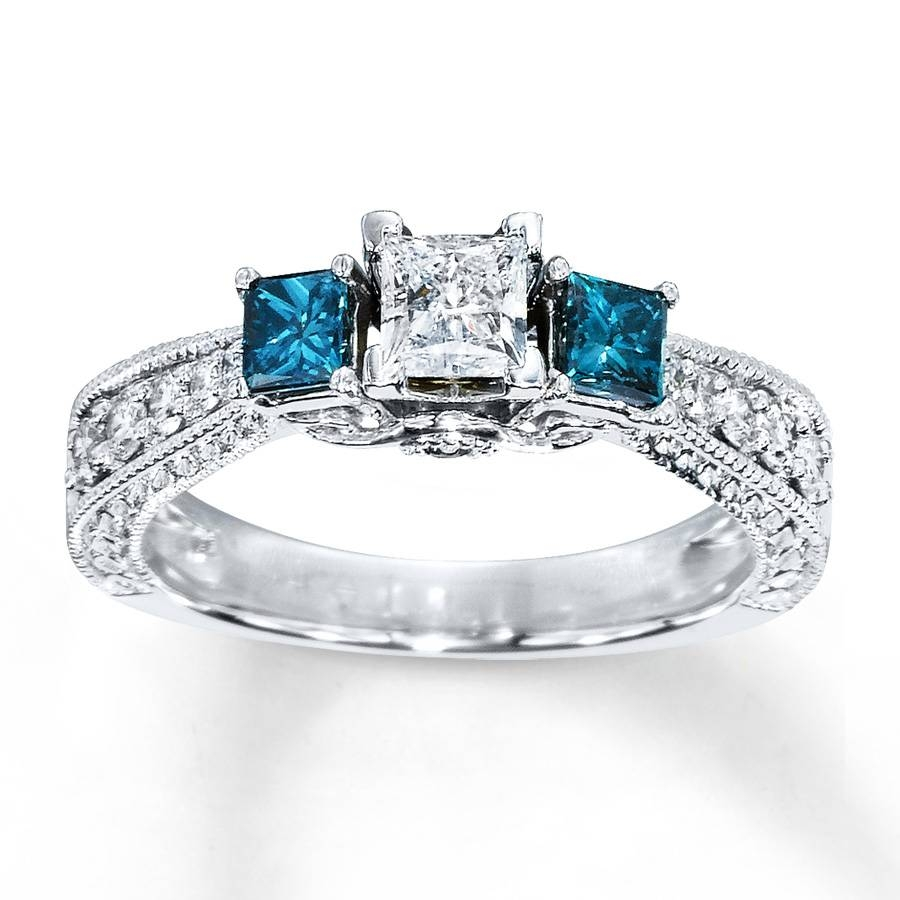 Blue Diamond Ring 1 Carat Tw Princess Cut 14K White Gold – Jewelry Inside Colored Diamond Wedding Bands (View 5 of 15)