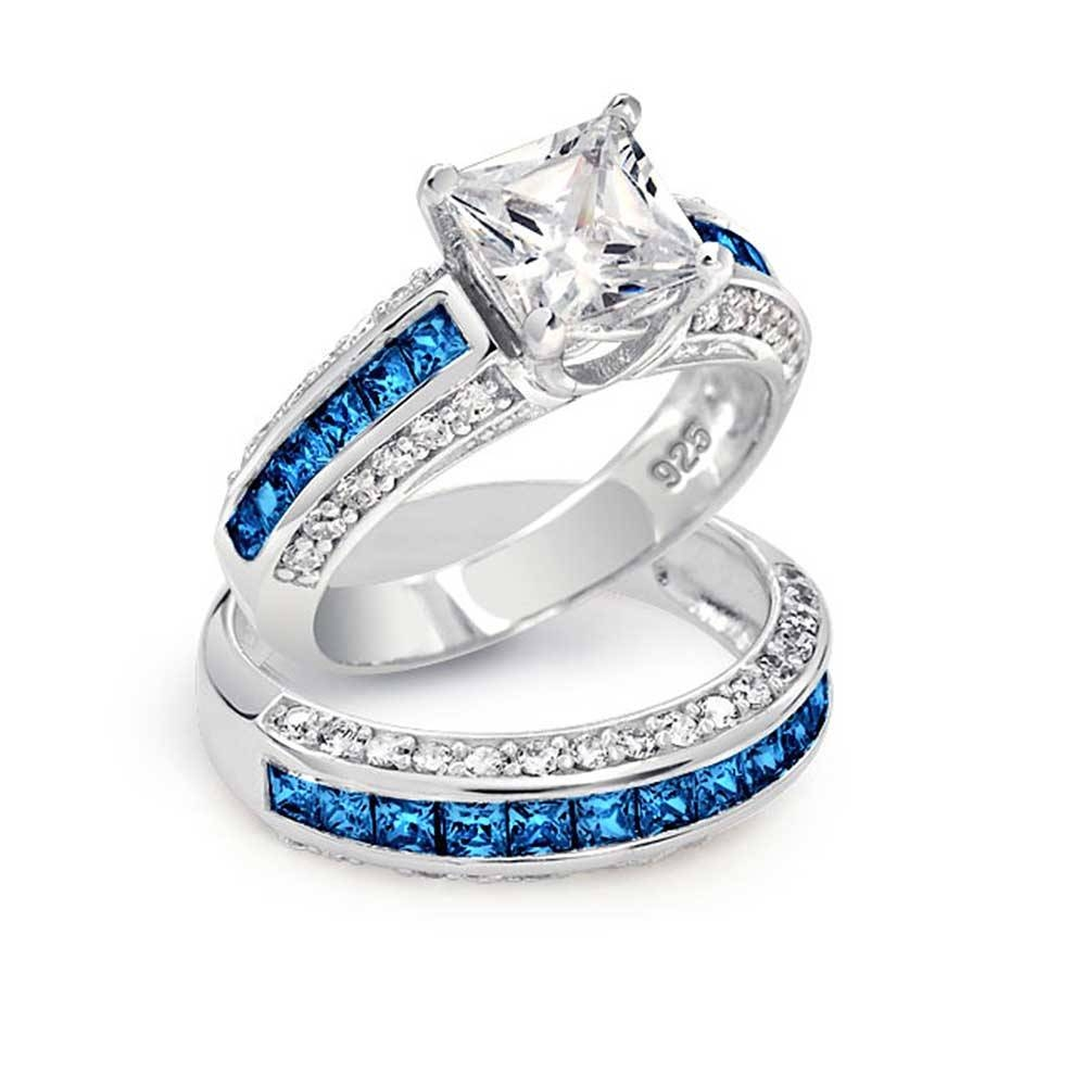 Blue Diamond Wedding Ring Sets Blue Diamond Engagement Rings Within Colored Diamond Wedding Bands (Gallery 2 of 15)
