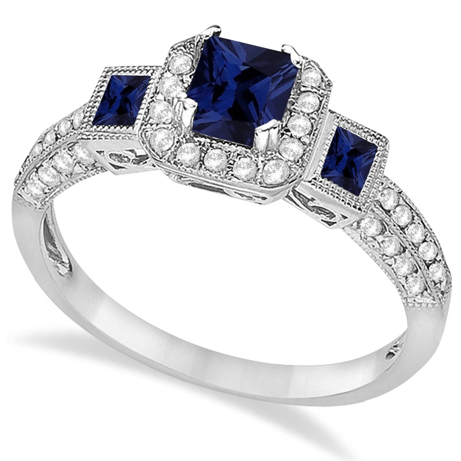Blue Sapphire & Diamond Engagement Ring 14K White Gold  (View 3 of 15)