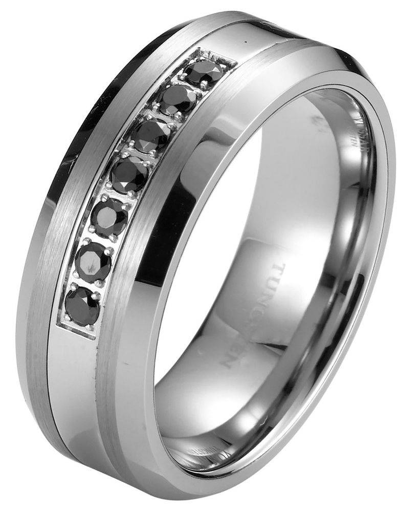 Blue Tungsten Wedding Rings Tags : Tungsten Mens Wedding Rings Within Mens Black Tungsten Wedding Bands With Diamonds (View 2 of 15)
