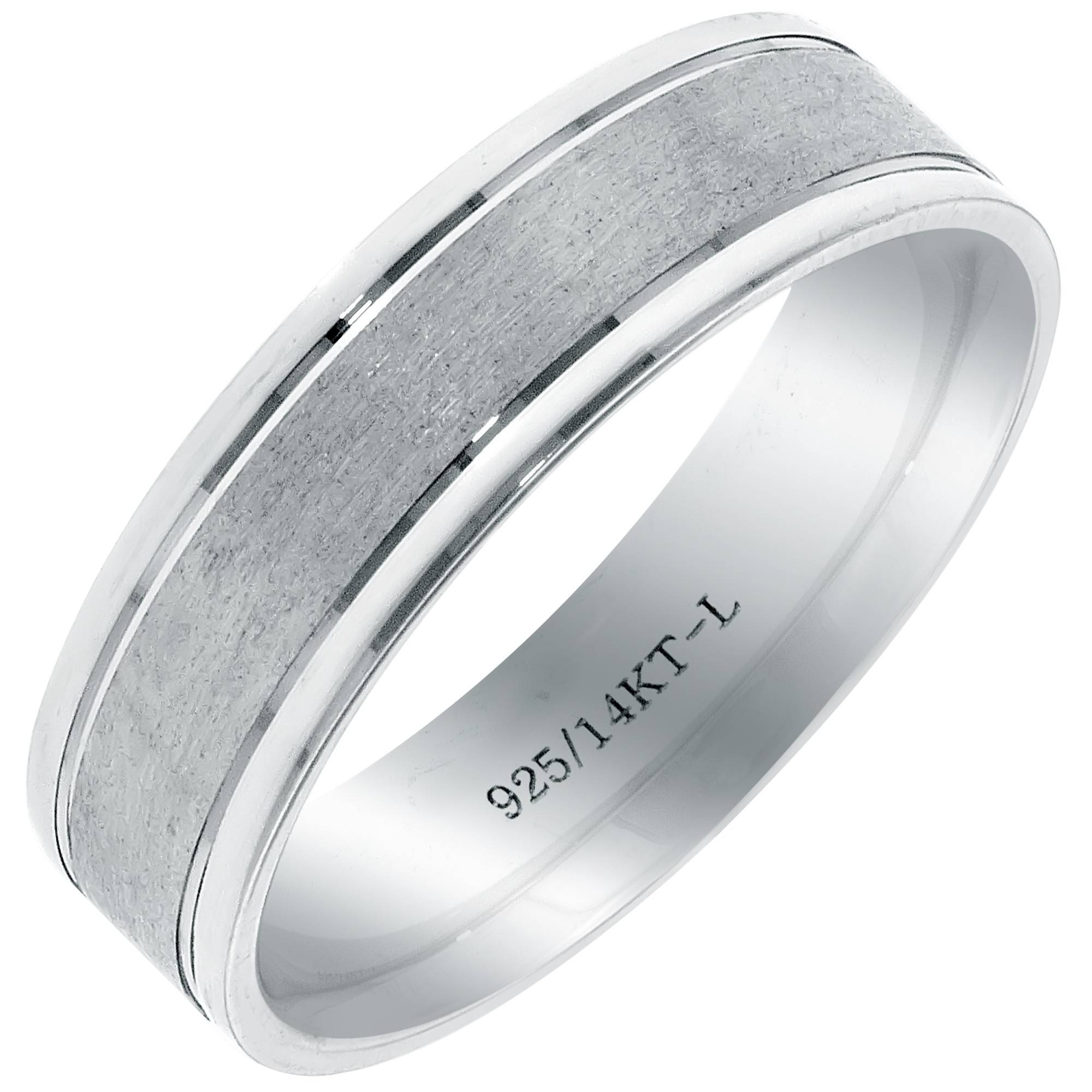 Bond2 Mens Wedding Band In 14Kt White Gold And Sterling Silver (6Mm) Throughout Sterling Silver Wedding Bands For Him (View 2 of 15)