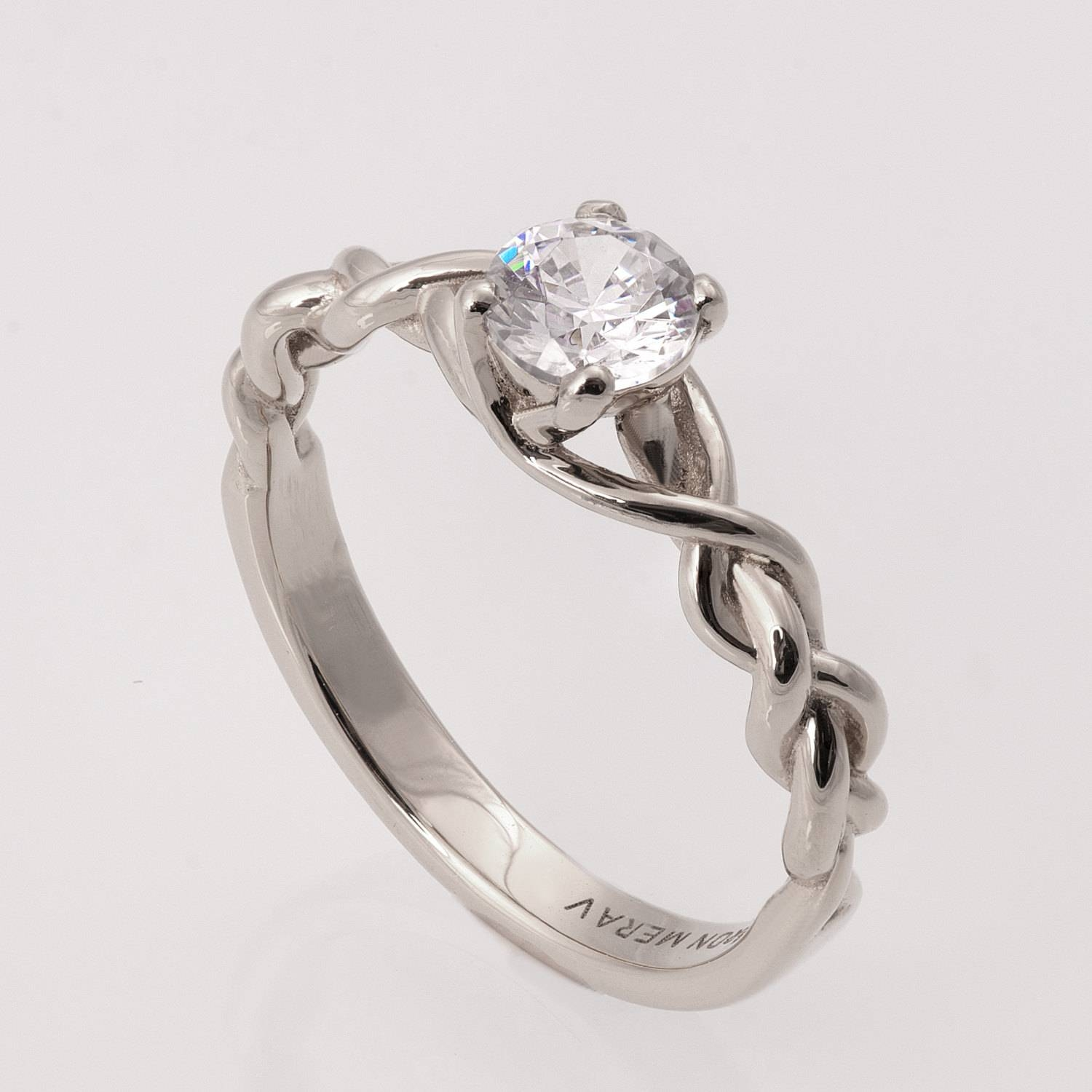 Braided Engagement Ring No.2 14k White Gold And Diamond With Regard To Braided Wedding Bands (Gallery 12 of 15)
